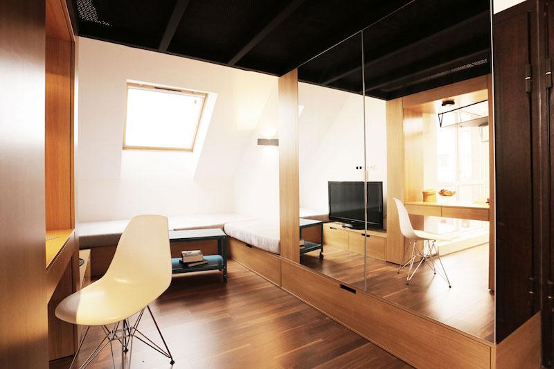 Sofia studio with mirrored cabinet