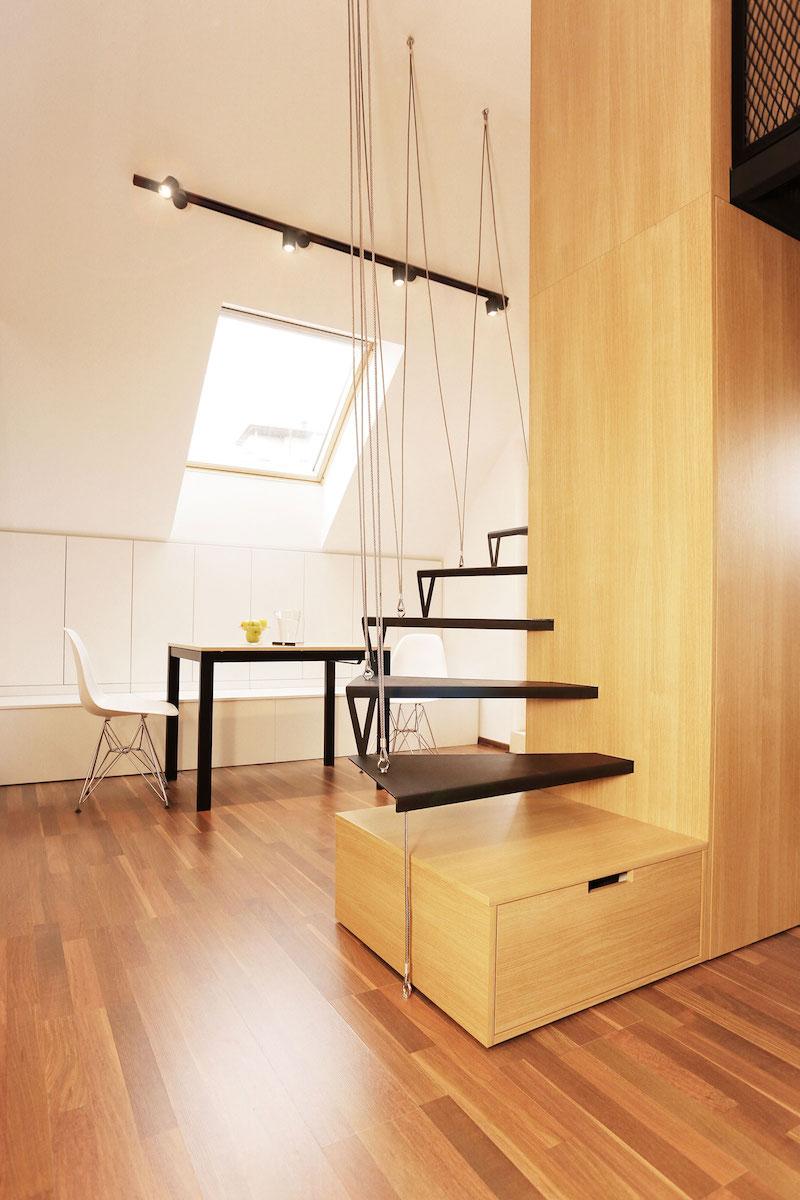Sofia studio with storage under the stairs