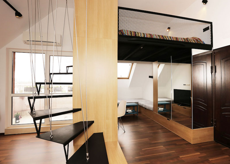 Small Apartment With A Loft Bedroom And Bright Open Plan