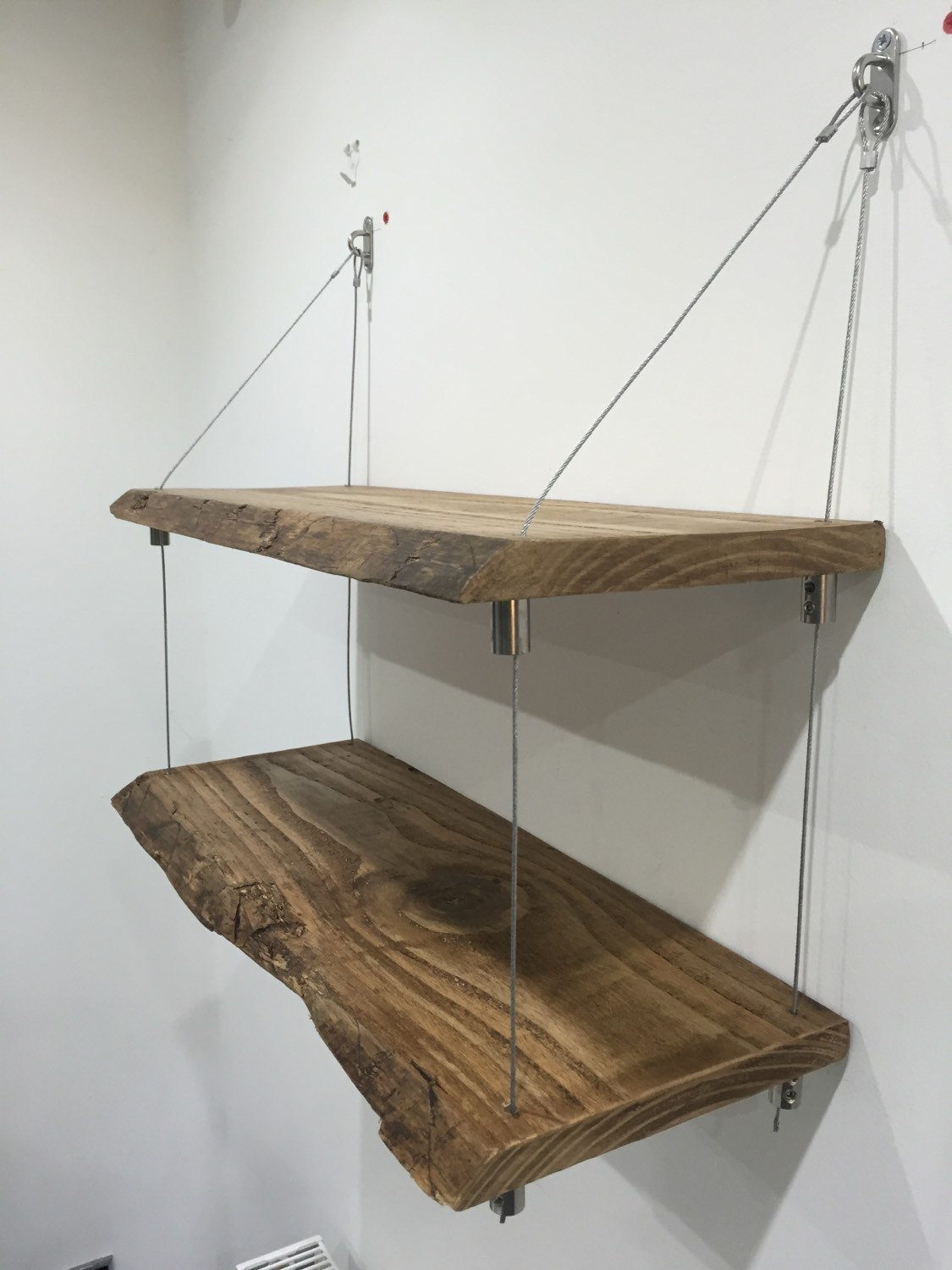 Solid wood edge shelves hanging
