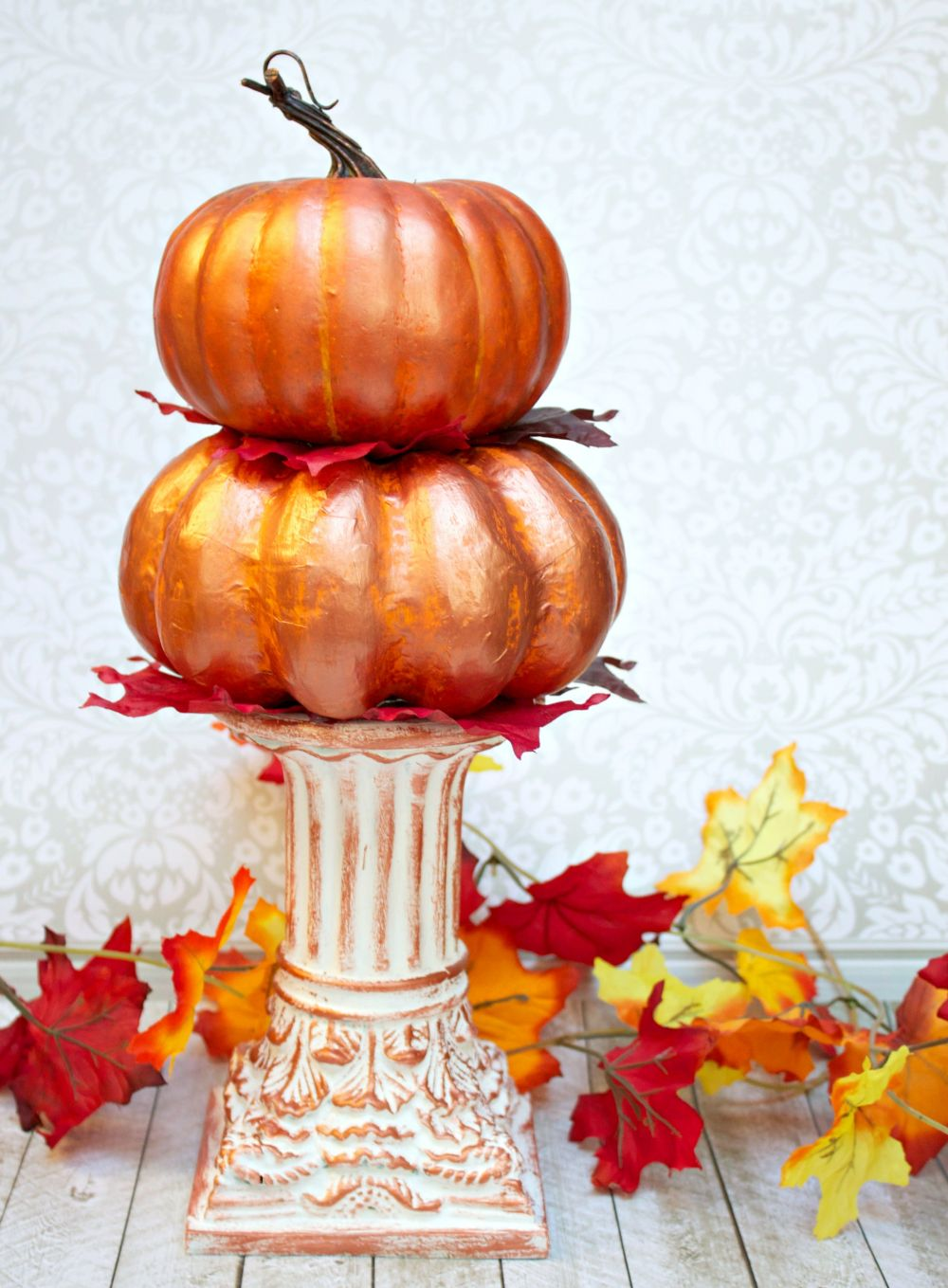 Stacked Metallic Pumpkins Centerpiece for Fall PRoject