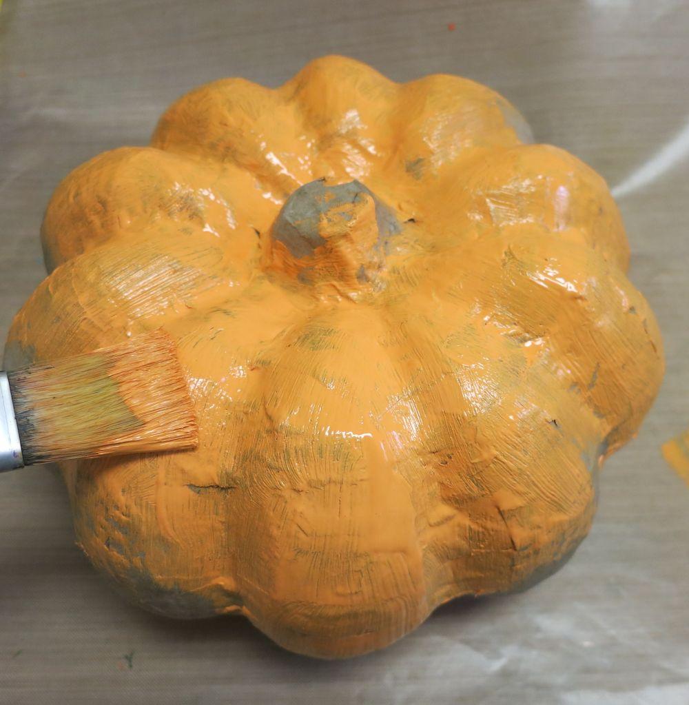 Stacked Metallic Pumpkins Centerpiece for Fall Paint