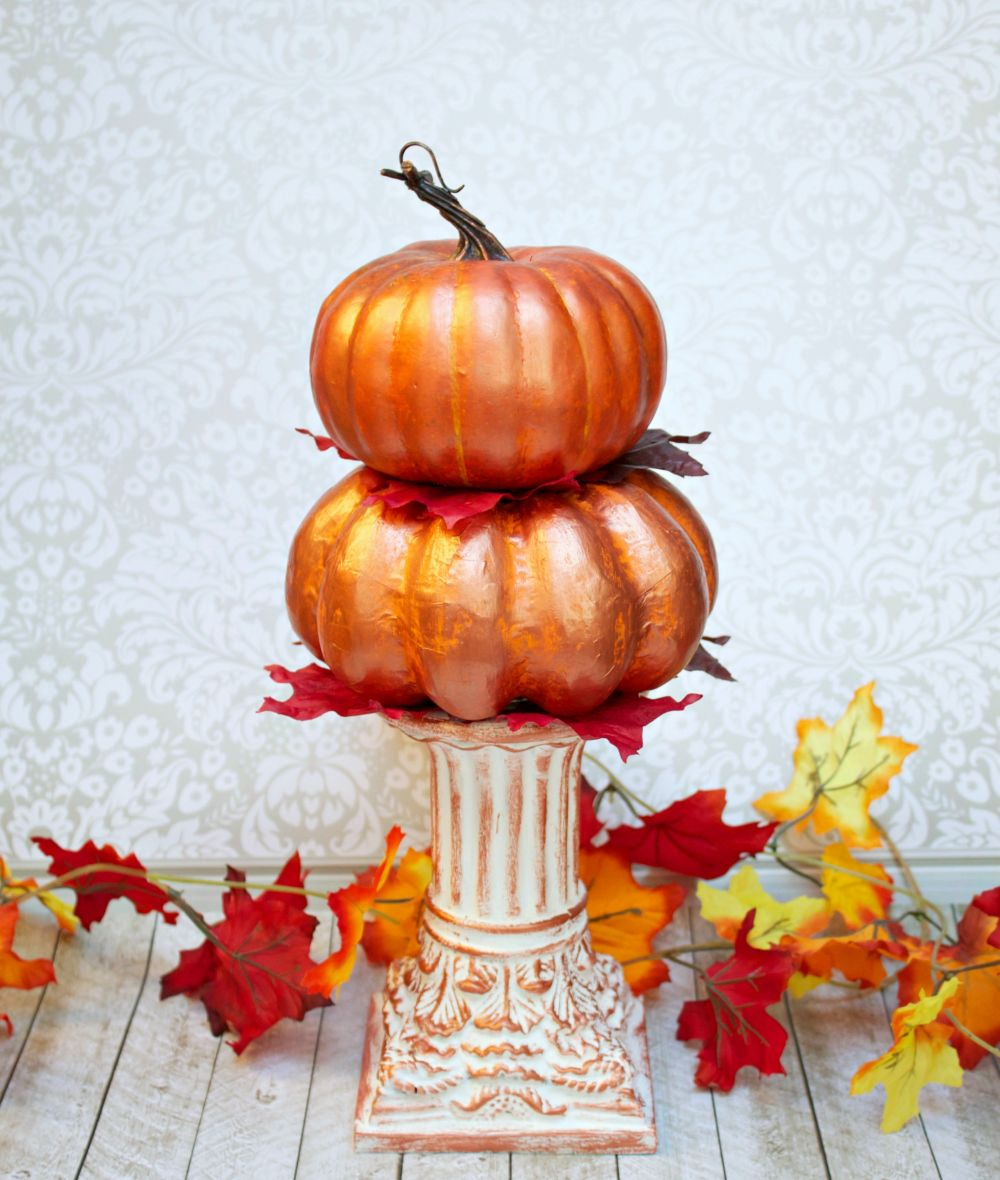 Stacked Metallic Pumpkins Centerpiece for Fall