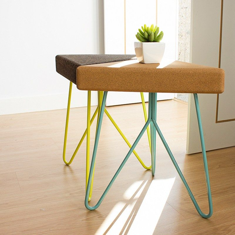 Tres Cork top table stool with colorful wire base