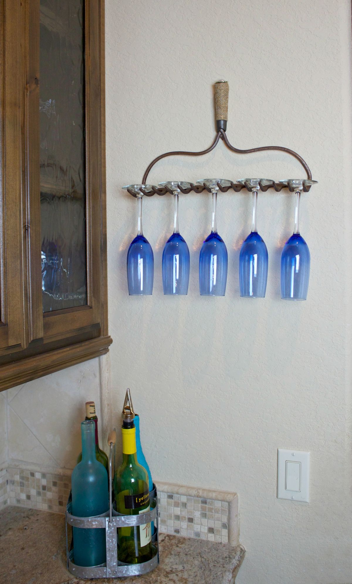 Turn a Rake into a Wine Glass Holder - Glue Edges