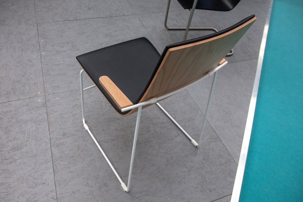 Wood seat and white wire legs