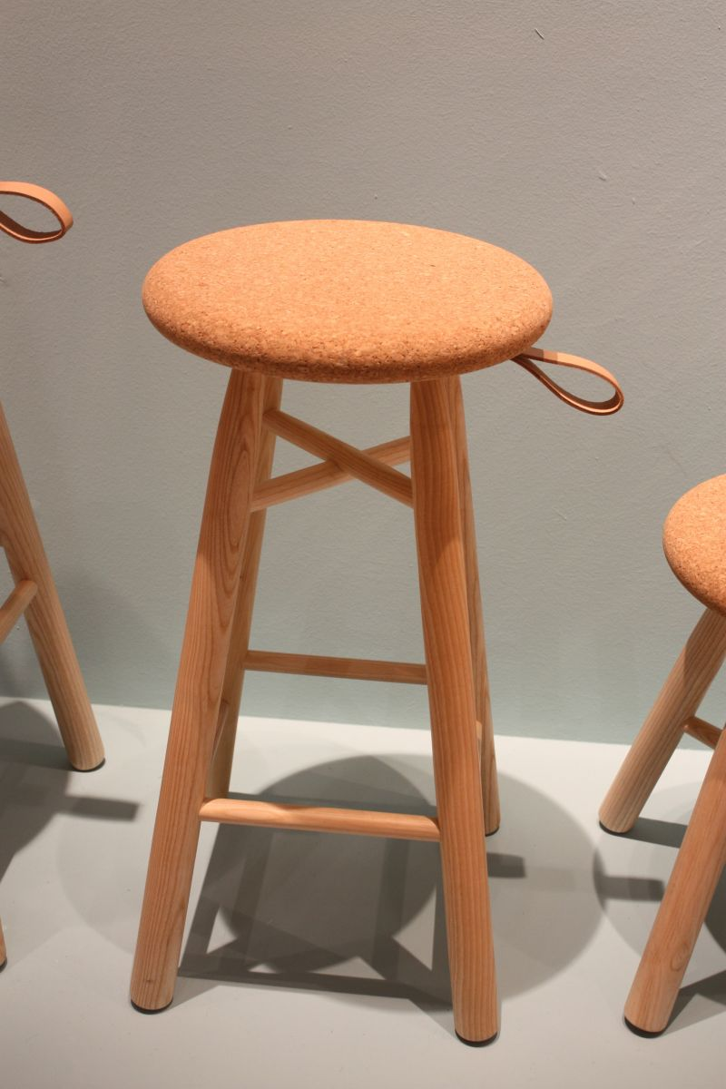 Wood stool with cork top