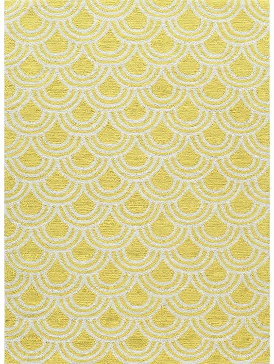 Yellow dark floor rug