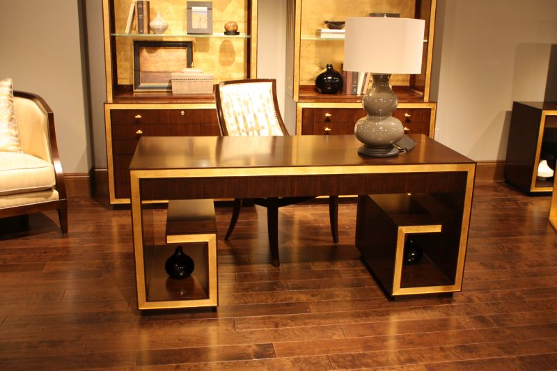 solid wood luxury desk with gold accents