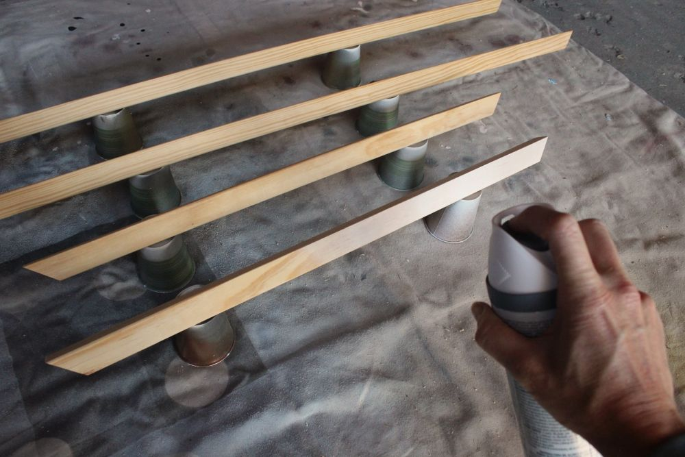 spray paint the trim pieces