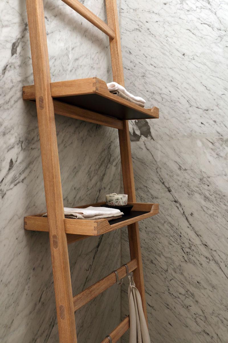 Apartment ST bathroom ladder shelves