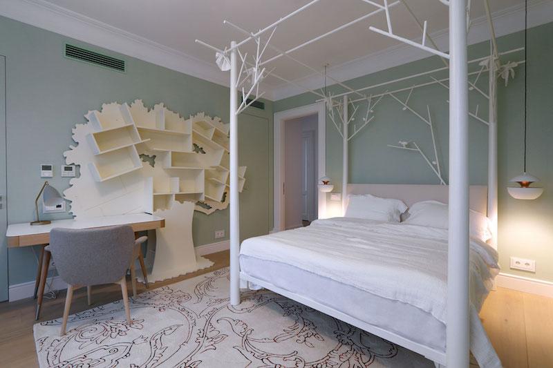 Apartment ST bedroom tree shelves