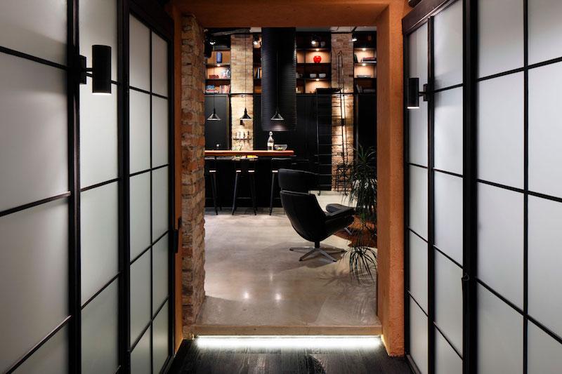 Apartment UV hallway view of living