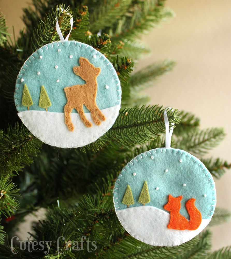 Beautiful small felt christmas tree ornaments