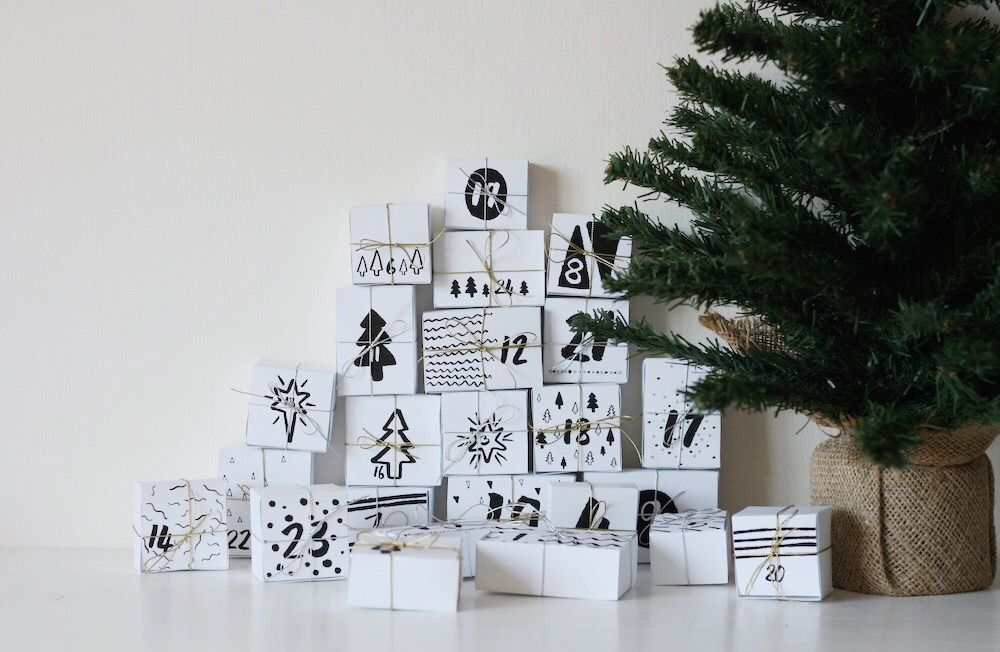 Black and white Advent Calendar Boxes
