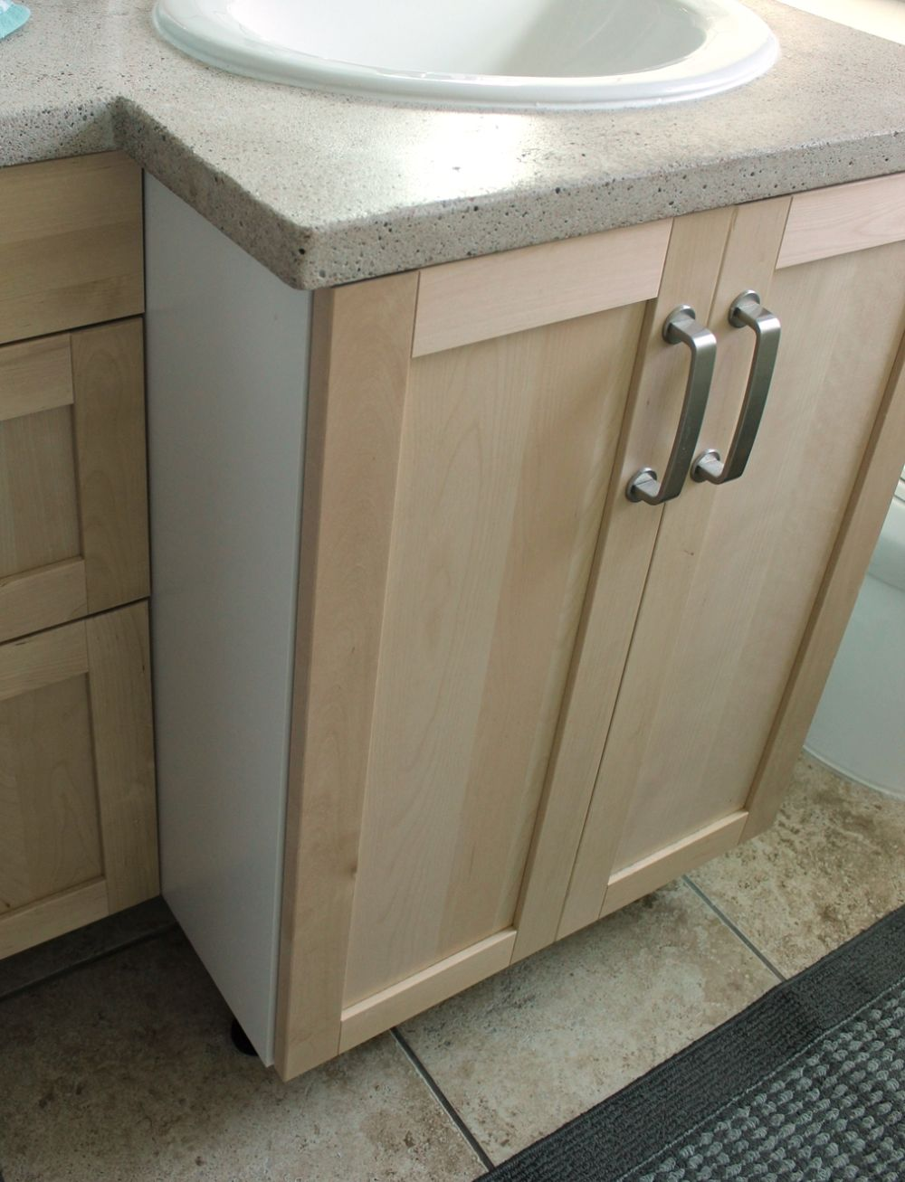 Blonde wood vanity doors
