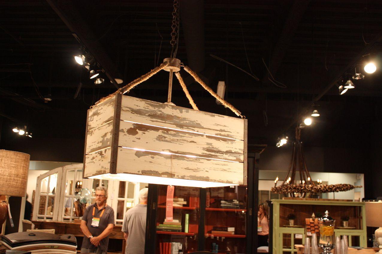 The Bramble Company's distressed crate pendant light.