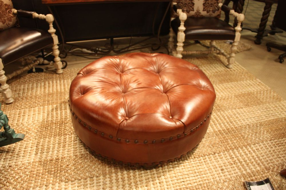 Beautiful Brown Leather Tufted Ottoman Design