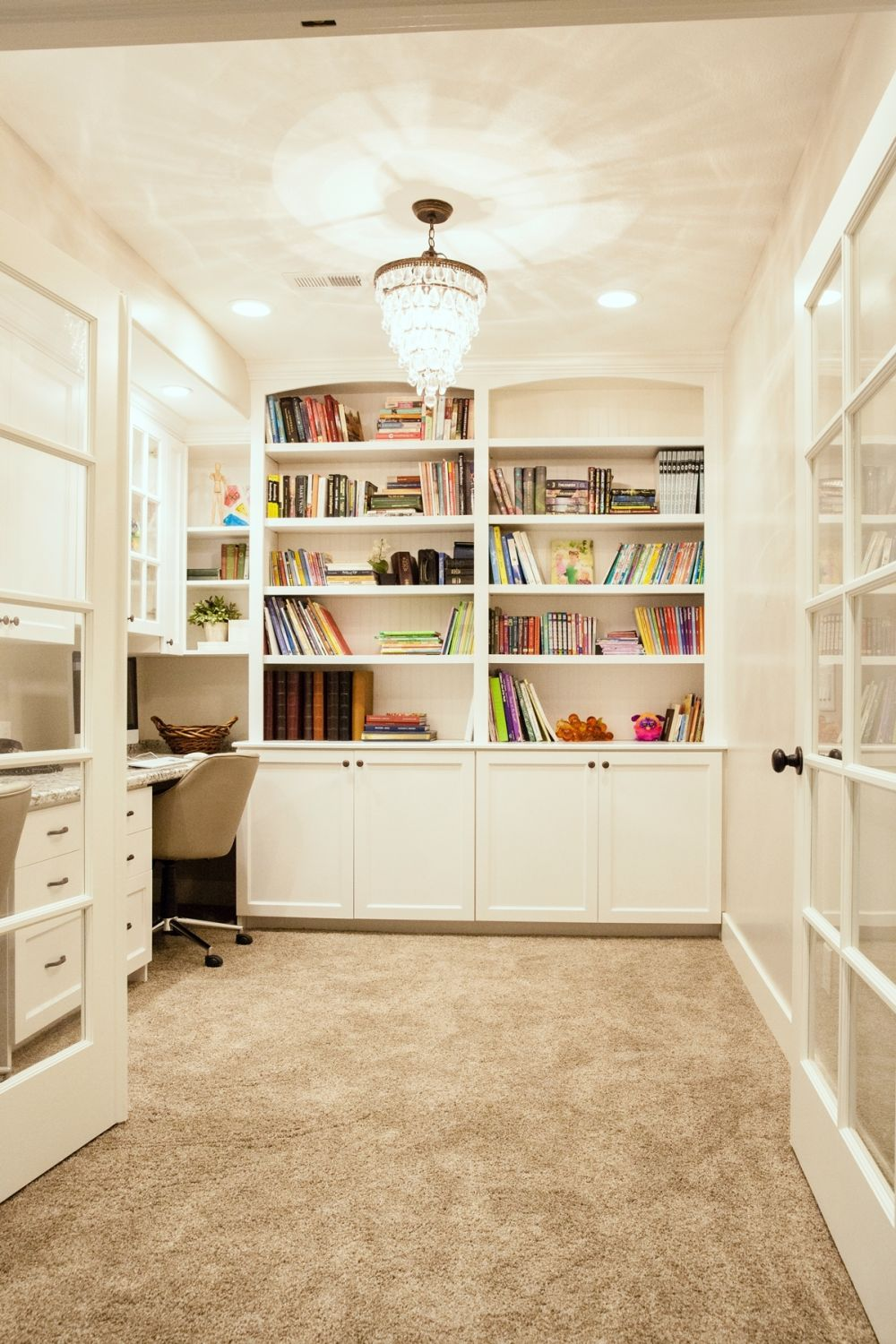 Built-in shelving and cupboards