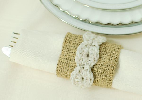 Burlap crochet napkin rings