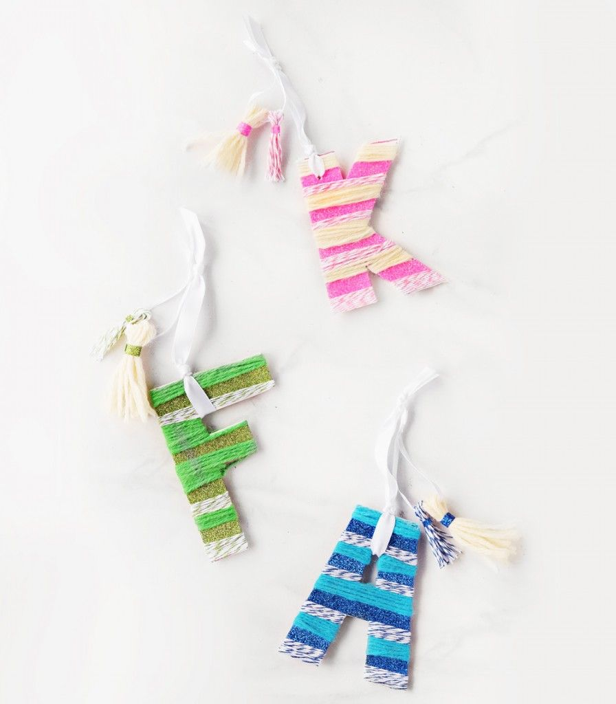 Candy Stripe Alphabet DIY Ornaments