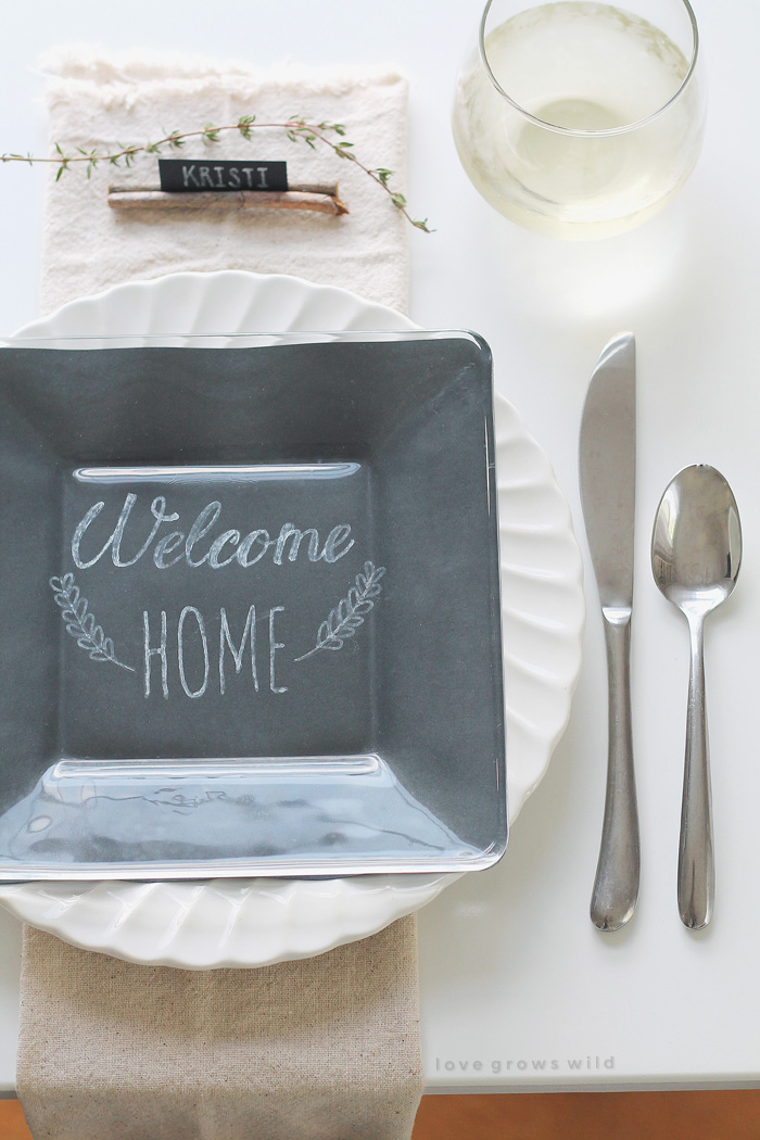 Chalkboard plates for Thanksgiving