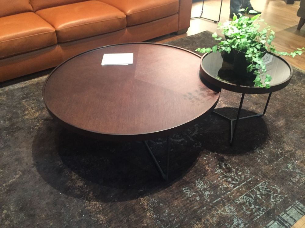 Coffee tables for living room with round top and frame base