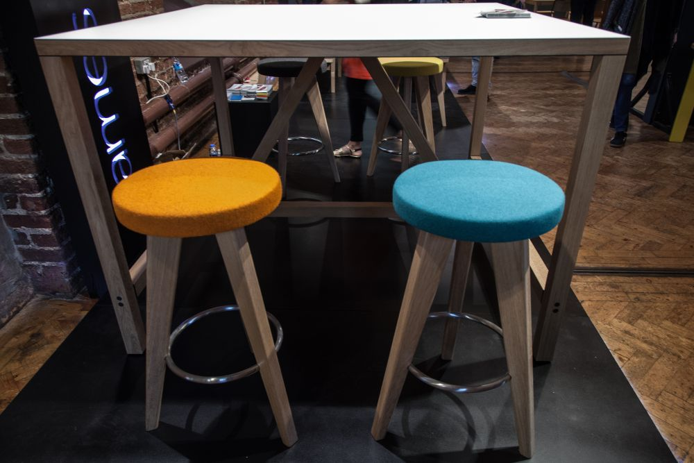Colorful Stool Seating from Felt for a tall Table