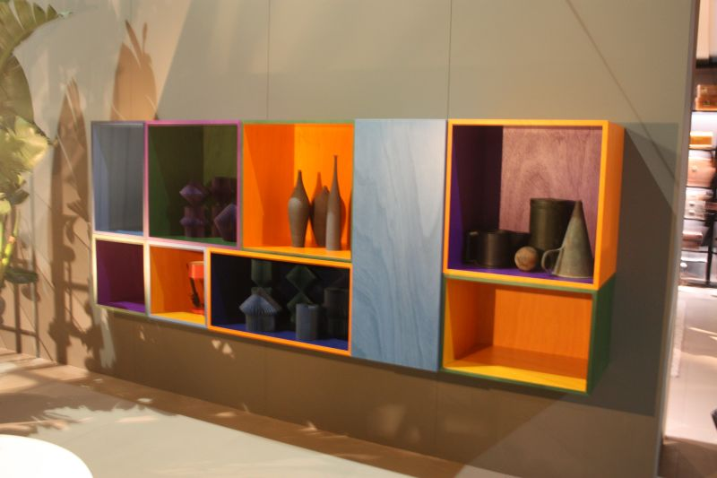 Colorful cube shelves