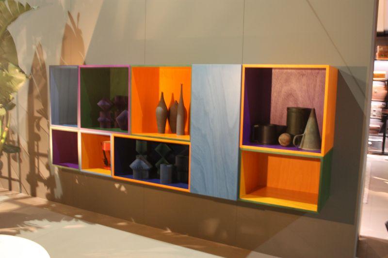 Colorful cube shelves