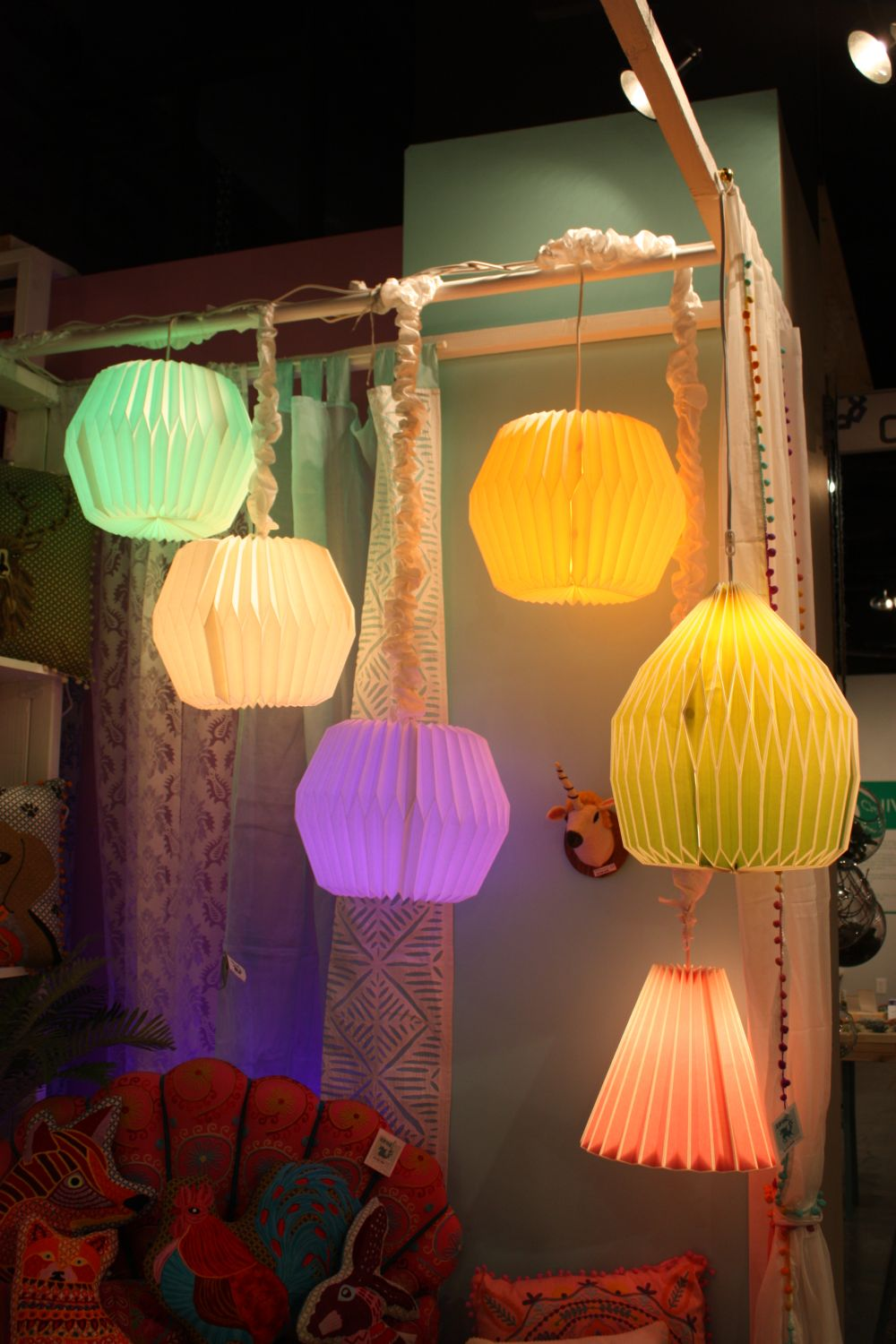 Colorful paper pendant lamps