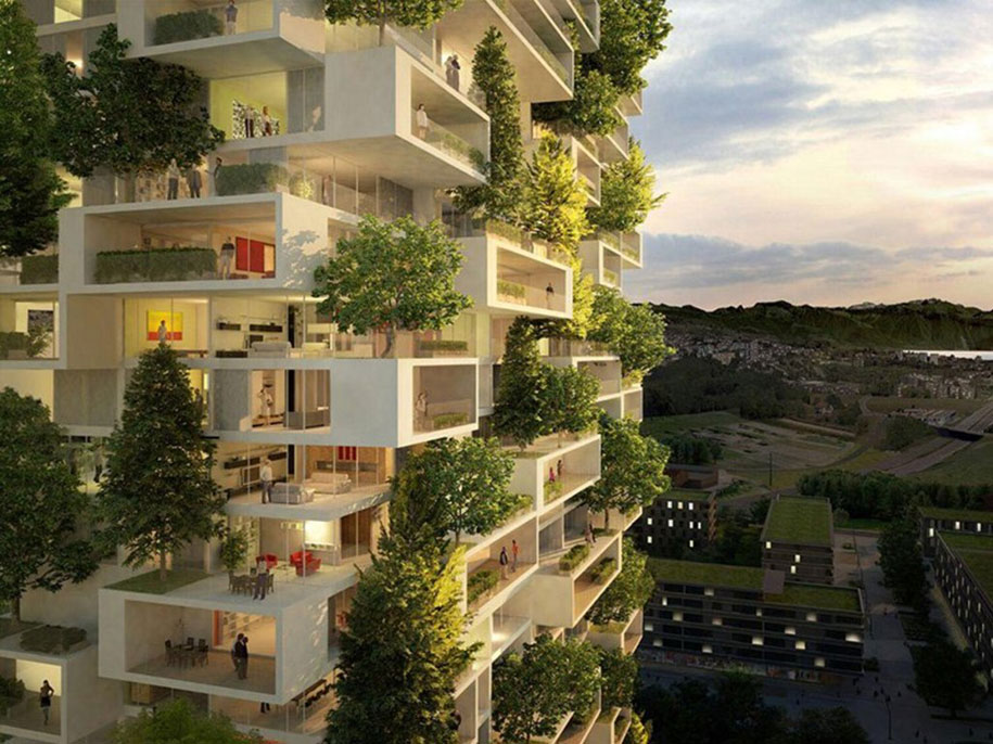 Concept of Bosco Verticale Apartments Building