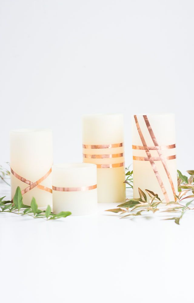 DIY Copper-Wrapped Candles