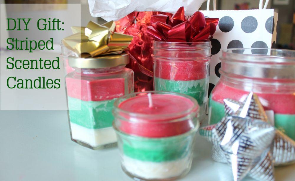DIY礼品条纹圣诞蜡烛