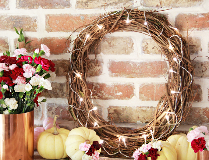 DIY Simple Lighted Grapevine Wreath