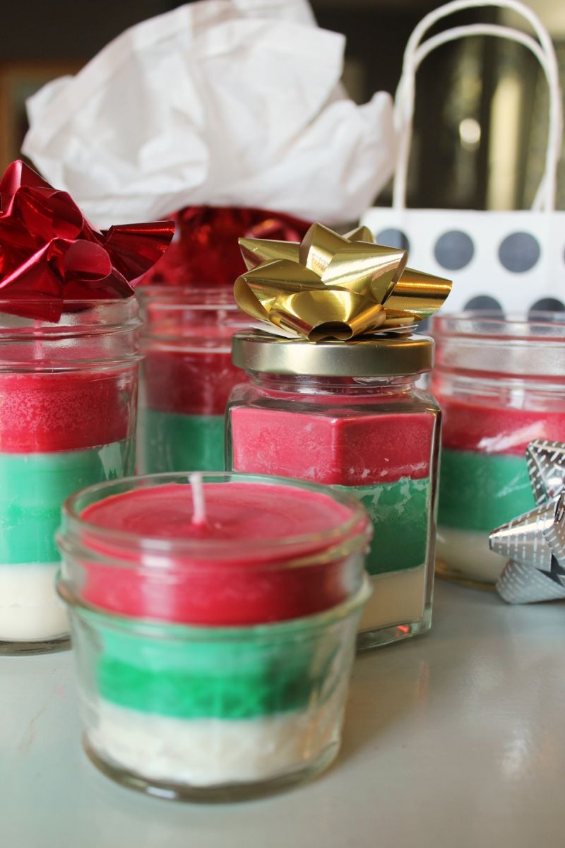 DIY Striped Christmas Candle for Holidays Gift