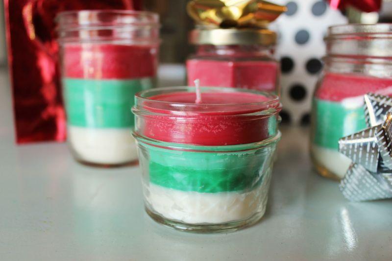 DIY条纹多味的圣诞蜡烛