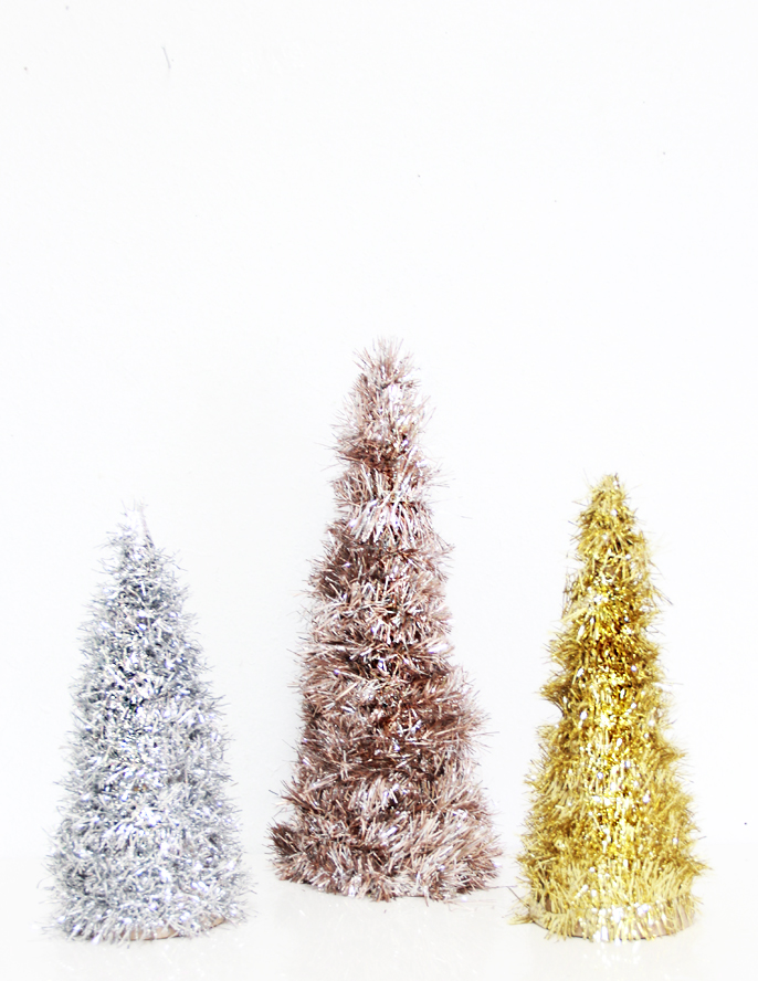 DIY tinsel trees