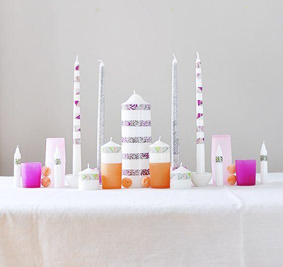 DIY washi tape candles