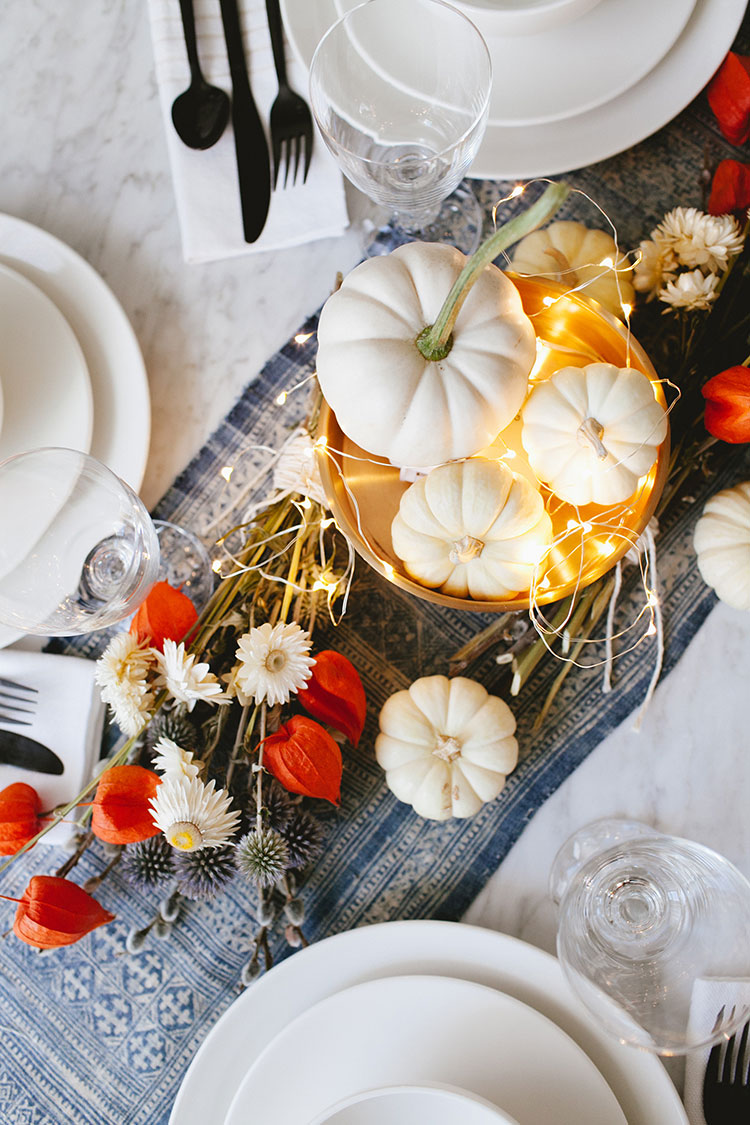 Dried flowers white pumpkin centerpiece