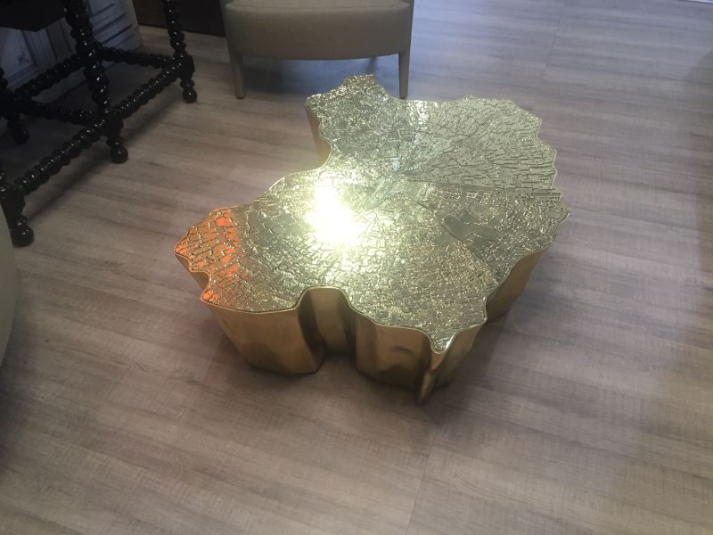 Eden Coffee Table in Gold from Bocadolobo