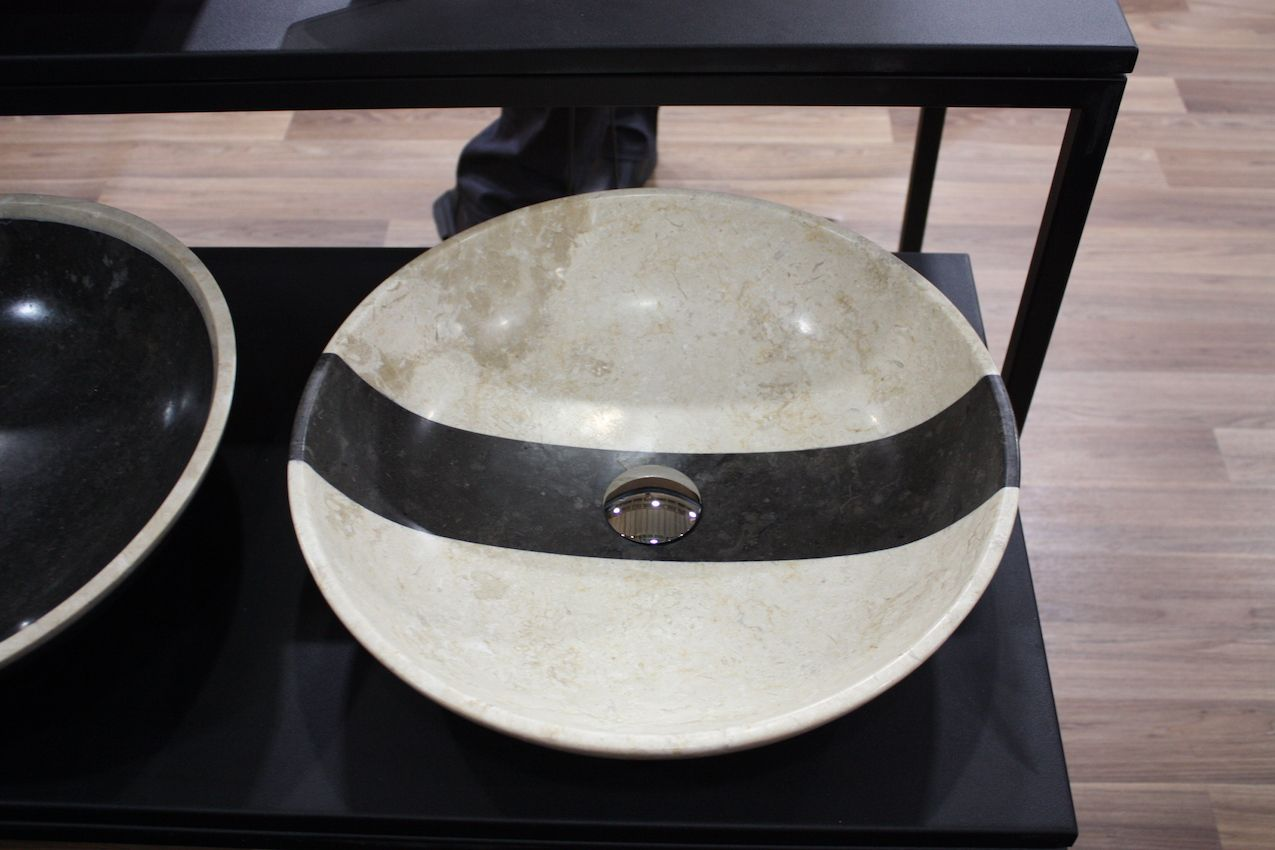 Beige stone sink with black line from the Euro collection at UNIK Stone.
