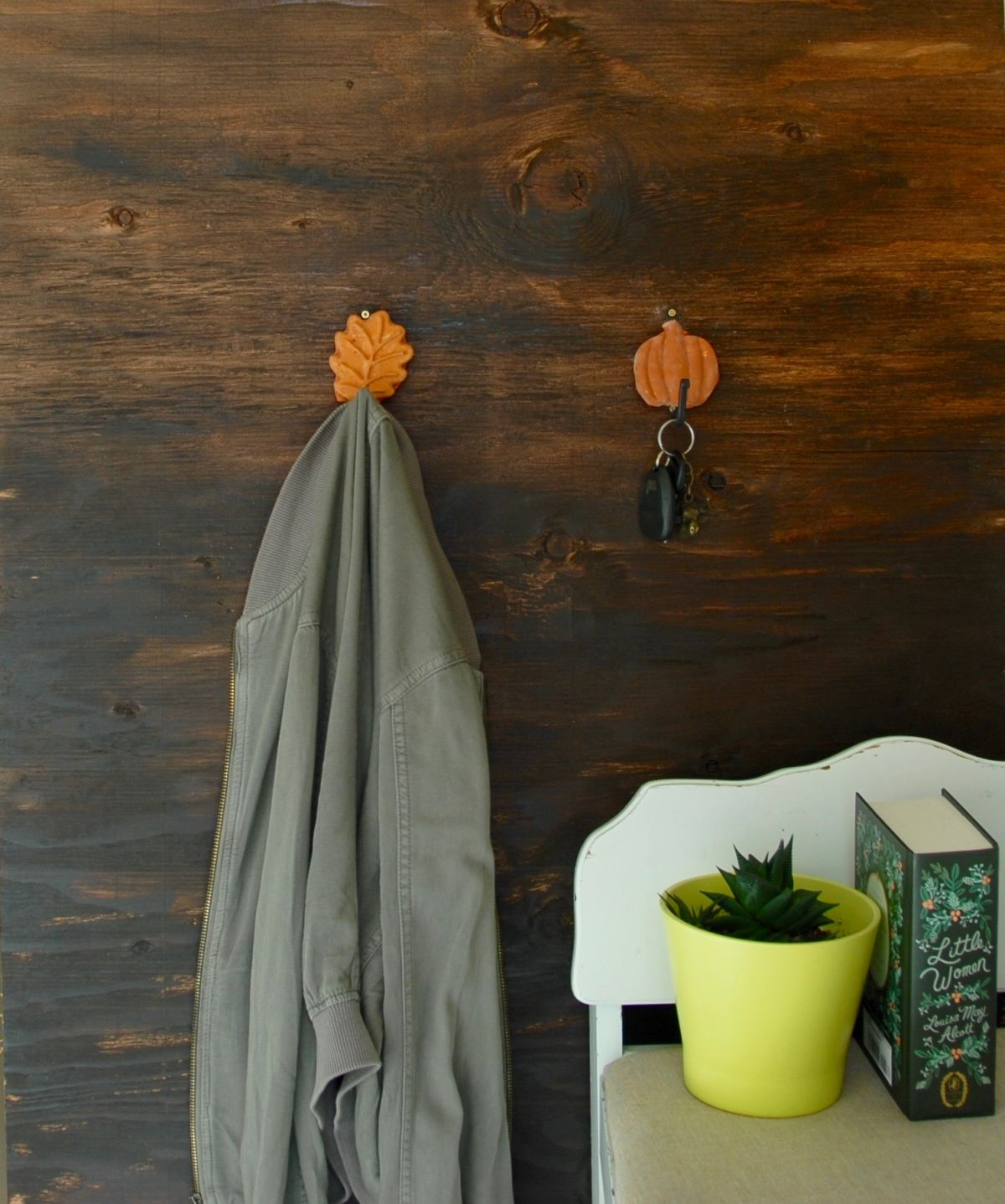 Fall Inspired Leaf and Pumpkin Wall Hooks DIY