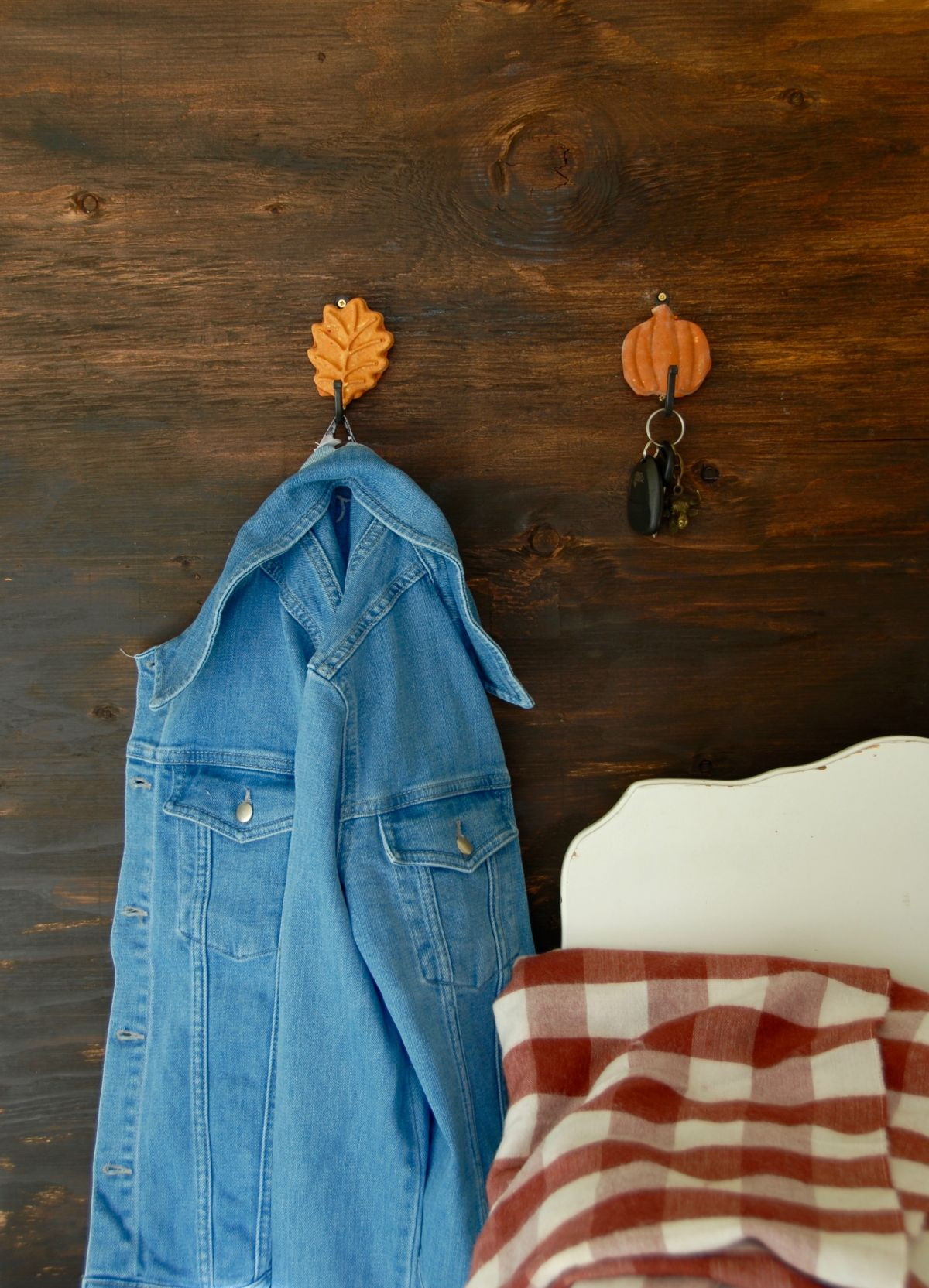 Fall Inspired Leaf and Pumpkin Wall Hooks Hang