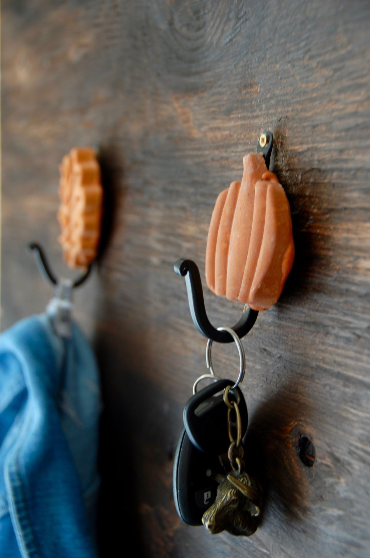 Fall Inspired Leaf and Pumpkin Wall Hooks Pumpkin