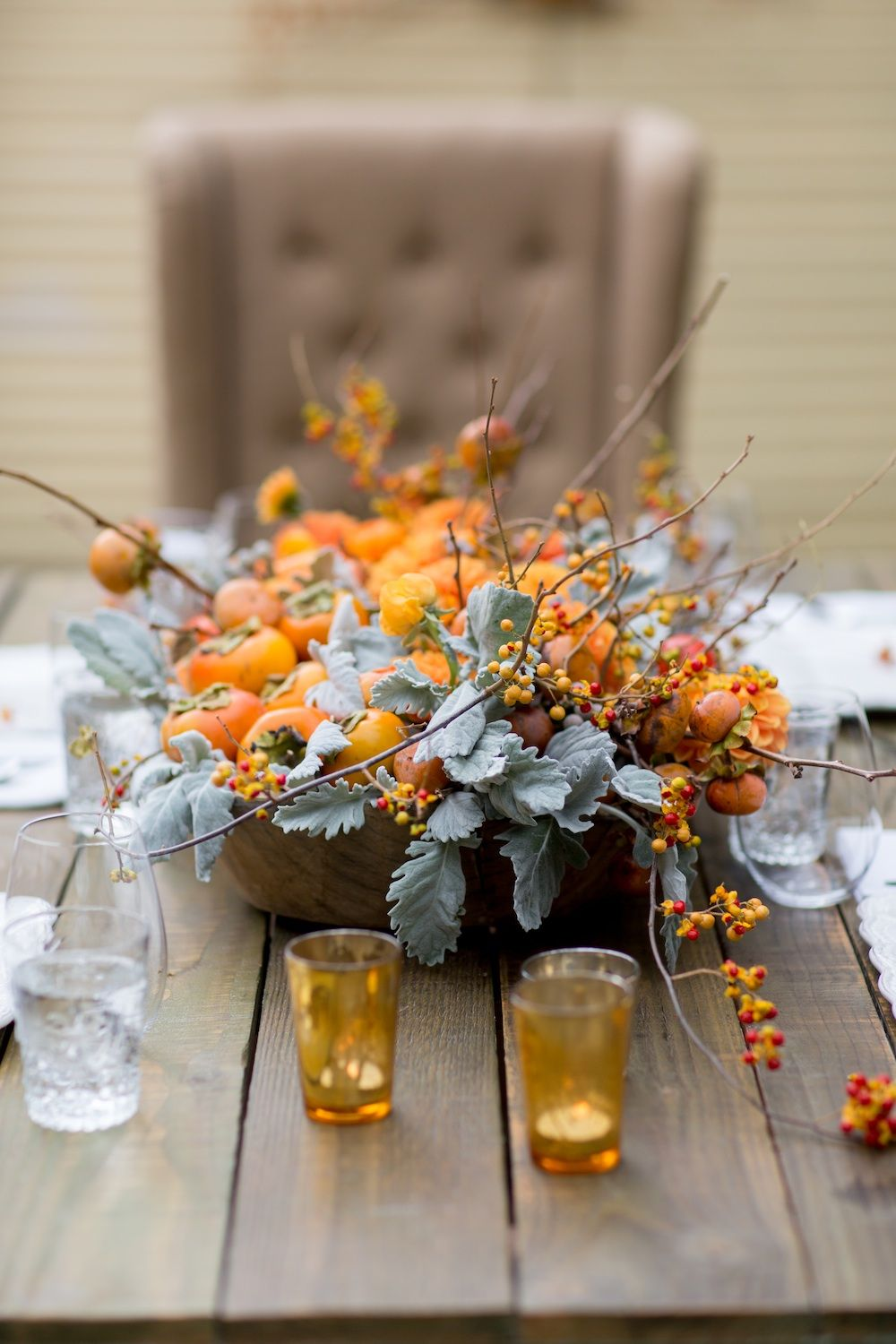 Fall themed table centerpiece design