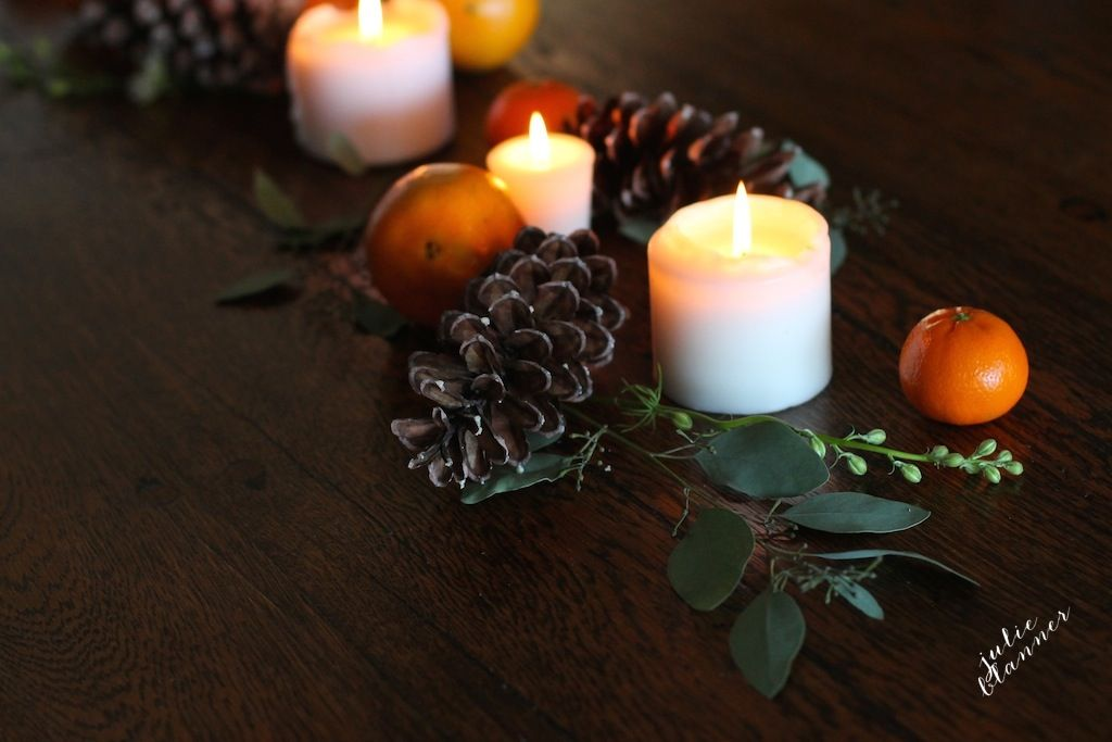 Fall to winter table centerpiece
