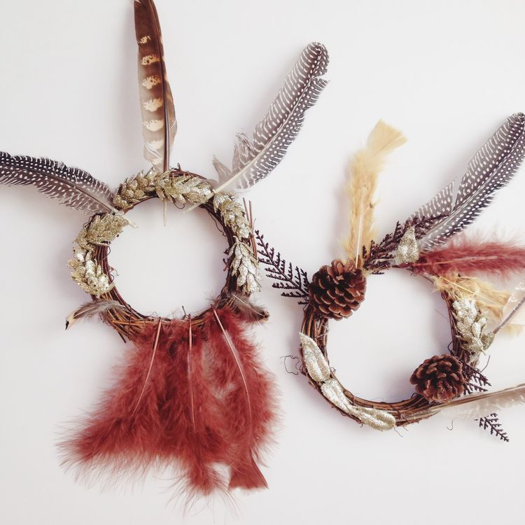 Feather wreath art