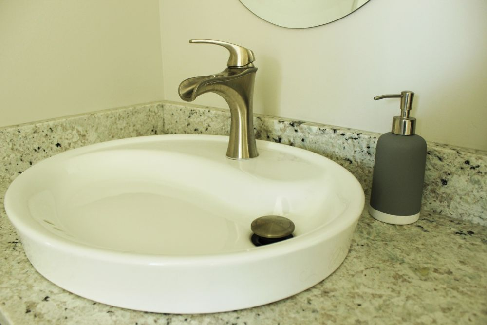 Flat bathroom porcelain sink