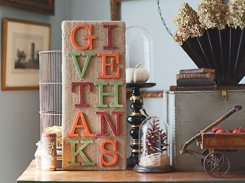 Give Thanks Burlap Sign